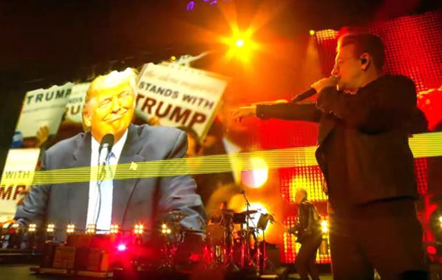 """Candidate, what's your vision for this great nation?"" Bono challenged a giant video projection of Donald Trump talking about his wealth."
