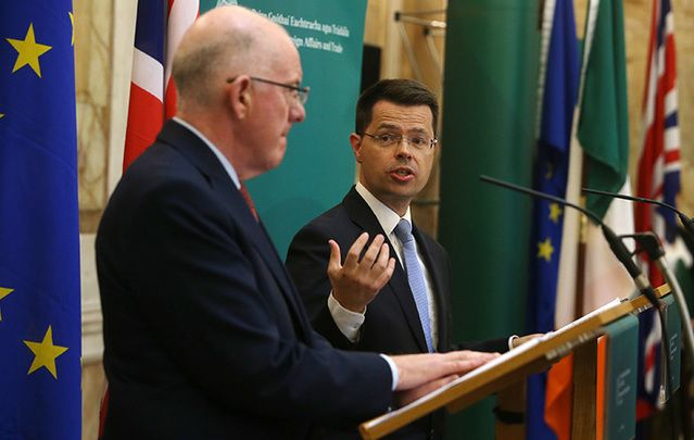 Minister for Foreign Affairs Charlie Flanagan and Norther Ireland Secretary James Brokenshire speaking in Dublin, in September 2016.