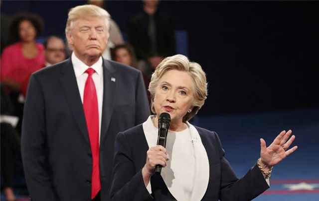 Donald Trump and Hillary Clinton during the 2nd presidential debate.