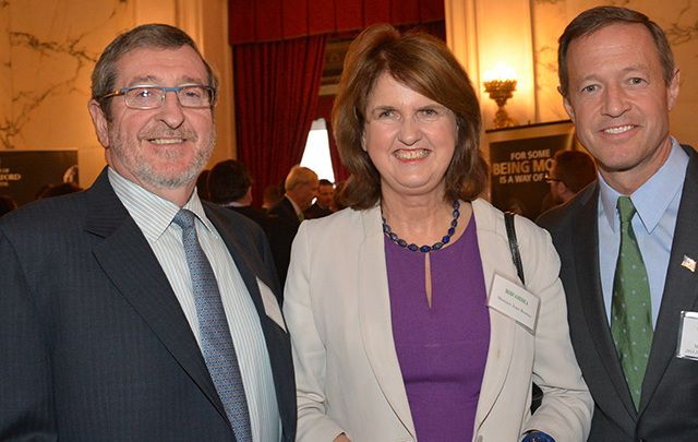Michael Dowling, photographed with Irish politician Joan Burton and US politician Martin O'Malley at an Irish American magazine event.