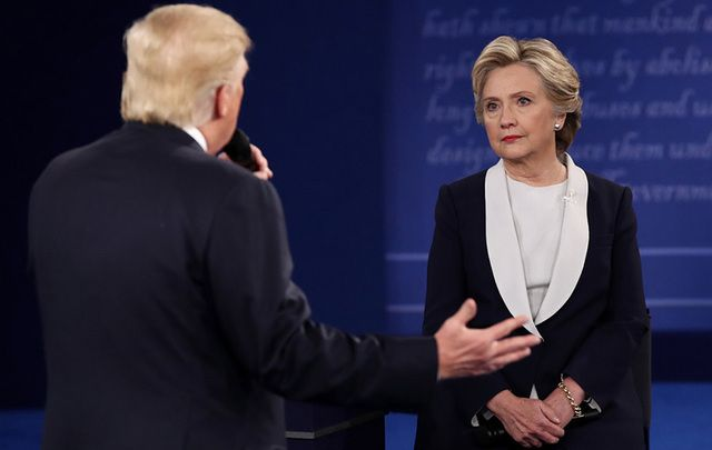 Donald Trump and Hillary Clinton face off during the 2nd presidential debate.