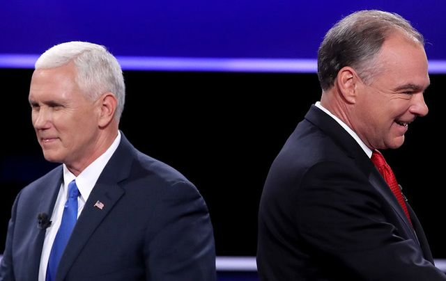Governor Mike Pence and Senator Tim Kaine at last week's vice presidential debate.