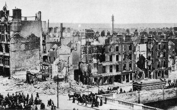 Dublin City lies in ruins following the 1916 Easter Rising.
