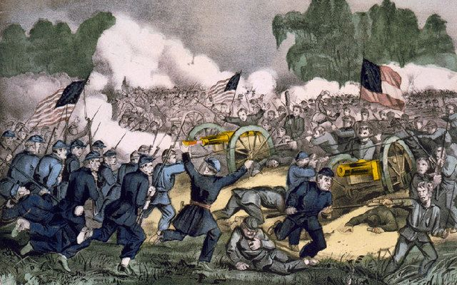 The battle of Gettysburg, Pa. July 3d. 1863, Hand-colored lithograph by Currier and Ives.