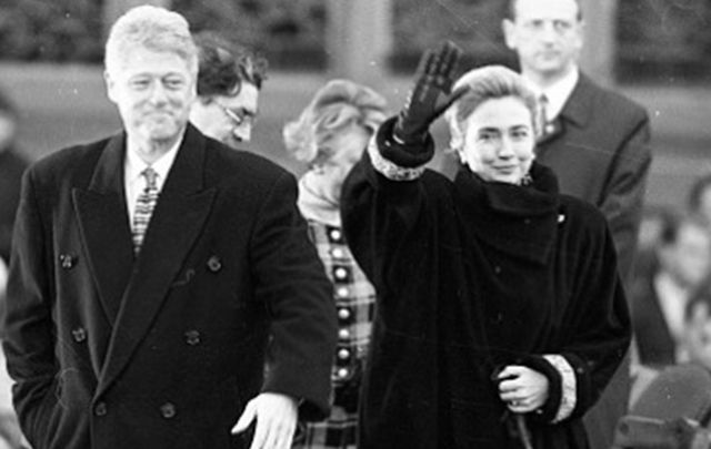 Bill and Hillary Clinton in Northern Ireland, 1995.