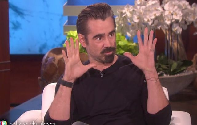 """Colin Farrell on the couch at """"Ellen."""""""