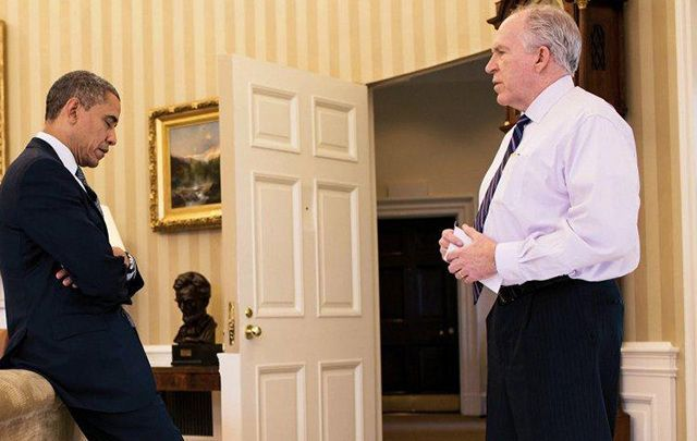 President Barack Obama and CIA Director John Brennan, in the Oval Office.