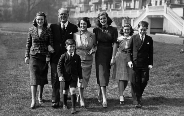 Joseph Patrick Kennedy (1888 - 1969), the American Ambassador and financier with his wife and five of their nine children at the Princes Gate home in London. Left to right: Kathleen, Edward (who became a Democratic senator), Joseph Kennedy, wife Rose Kennedy, Patricia (1924 - 2006), Jean and Robert, who became a Democratic senator before his assassination.