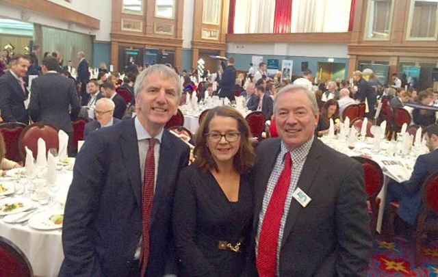 Pictured at the Belfast International Homecoming in the Titanic Museum were (l-r) Northern Ireland Finance Minister Máirtín Ó Muilleoir; Jackie Henry, Principal Partner Deloitte Belfast and Honorary Chair Belfast International Homecoming; and Moët Hennessy USA chief, Jim Clerkin.