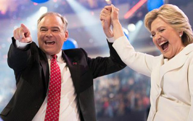 Tim Kaine and Hillary Clinton at the DNC.