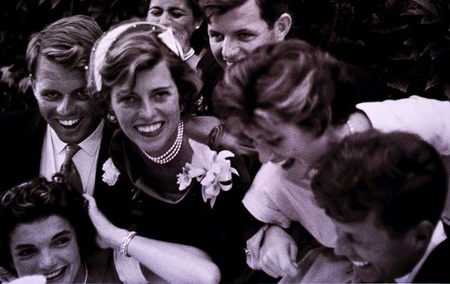 The Kennedy's and family clowning around, c 1953.
