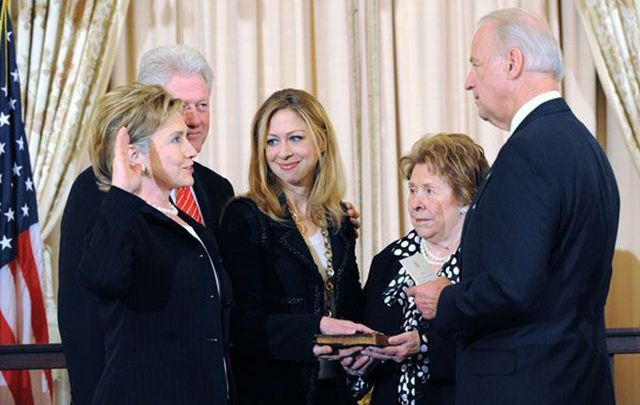 Joe Biden with Hillary Clinton during her swearing in ceremony as Secretary of State. Could Clinton appoint Biden for the same role?