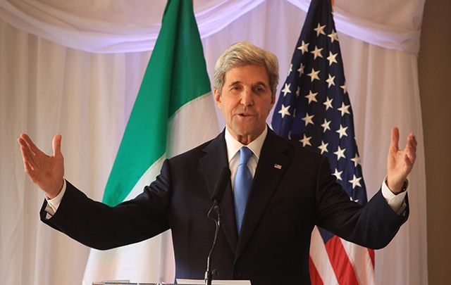 Secretary of State John Kerry after accepting the Tipperary International Peace Award