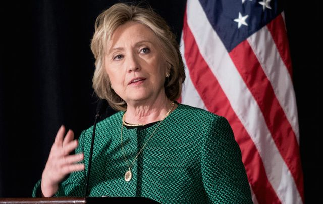 Hillary Clinton speaking at the Irish American Hall of Fame, in New York.