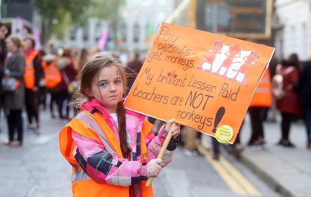 Irish teachers strike in Dublin.