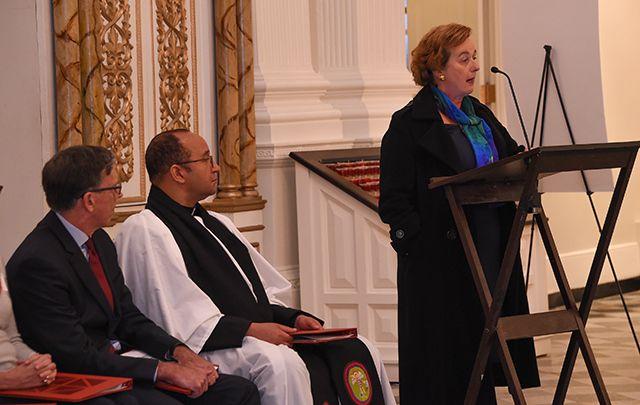 Irish Consul General the Hon. Barbara Jones speaking at St. Paul's Chapel during the rededication ceremony.