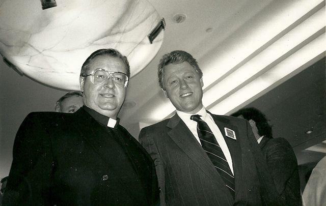 Fr. Sean McManus and Bill Clinton at the 1992 forum.