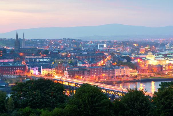 Derry city at twilight.