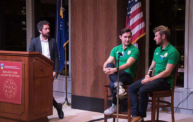 Paul and Gary O'Donovan speaking at the UCD New York Alumni Reception, October 18, 2016