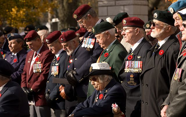 Veteran's wear the poppy while honoring their fallen brothers.