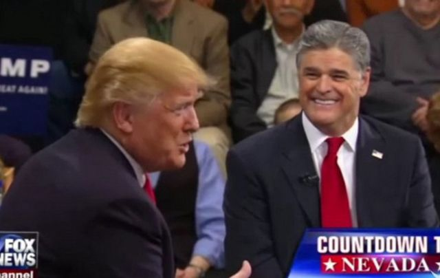 Donald Trump and Sean Hannity speak on Fox News, from Nevada.