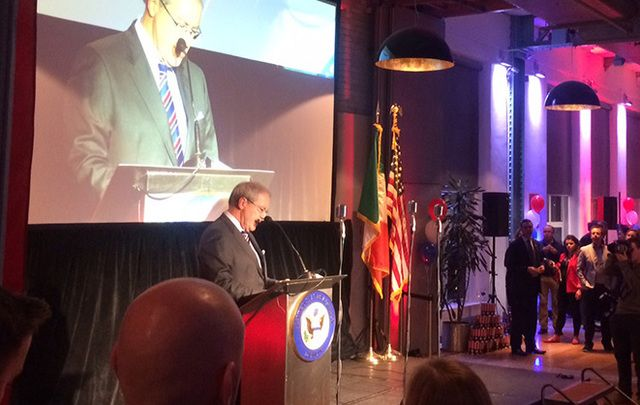 US Ambassador to Ireland Kevin O'Malley addresses the crowds gathered to watch the election at Guinness Storehouse.