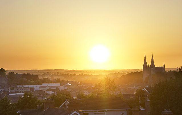 Sunrise over Armagh city.