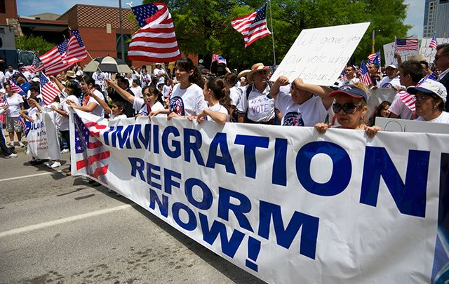An immigration reform rally in Texas in 2010.