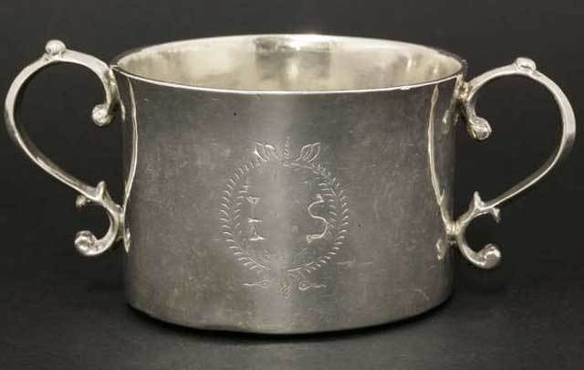 A rare Irish silver porringer dating back to the time of Oliver Cromwell.