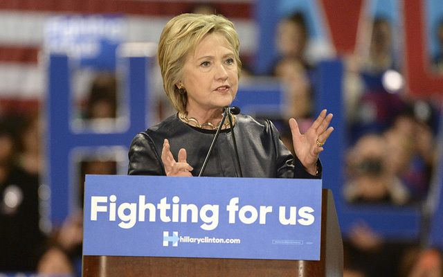 "Hillary Clinton, ""Fighting for US,\"" on the campaign trail."