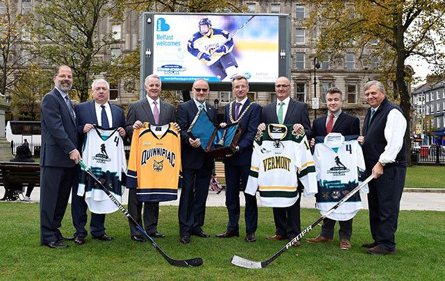 Lord Mayor of Belfast, Alderman Brian Kingston  with ECAC Hockey Commissioner Steve Hagwell, Randy LaBrake of St.Lawrence University, Greg Amodio of Quinnipiac University, Chairman of the Odyssey Trust Eric Porter, Joe Gervais of University of Vermont, Brennen McHugh of University of Massachusetts and Hockey East Commissioner Joe Bertanga.