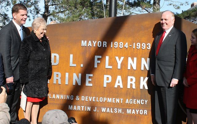 Mayor Marty Walsh pictured with Cathy Flynn and Mayor Flynn unveiling the Raymond L. Flynn Marine Park