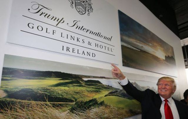Trump at the opening of his Doonbeg golf course and hotel.