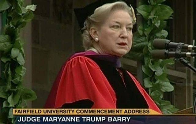 Judge Maryanne Trump Barry, the sister of President-elect Donald J. Trump, delivering a commencement address at Fairfield University in 2011.