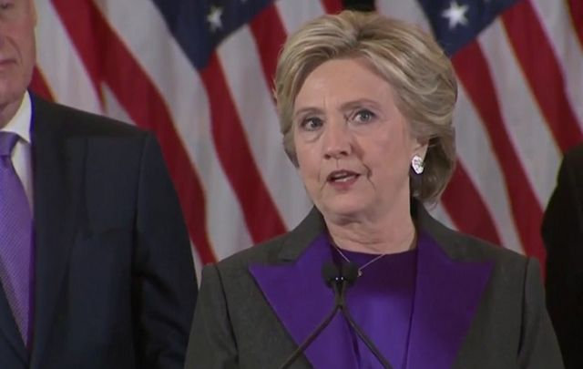 Hillary Clinton delivering her concession speech .
