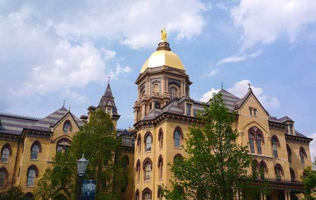 The Main Building, Golden Dome, at the University of Notre Dame.