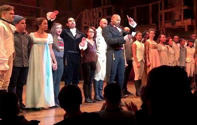 Brandon Victor Dixon address the audience of Hamilton.