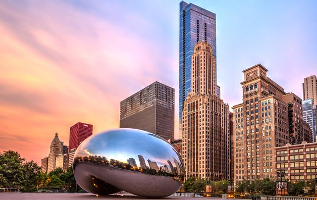 Picture of Cloud Gate or the 'Bean' as it is commonly known in front of the Chicago skyline