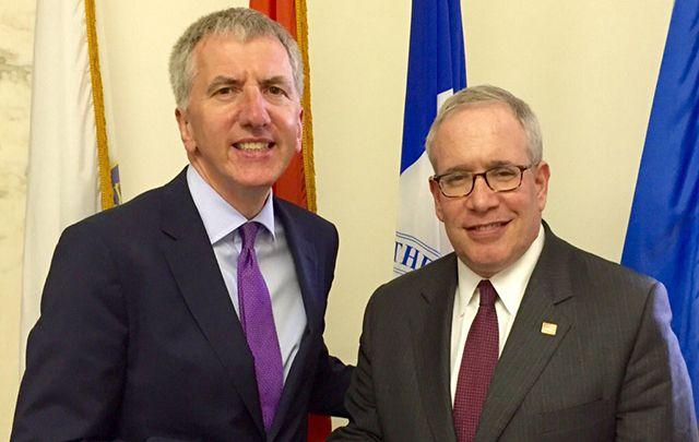 North Finance Minister Máirtin Ó Muilleoir (left) with New York City Comptroller Scott Stringer.