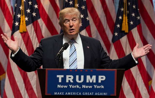 Donald Trump speaking during rally in New York, July 2016