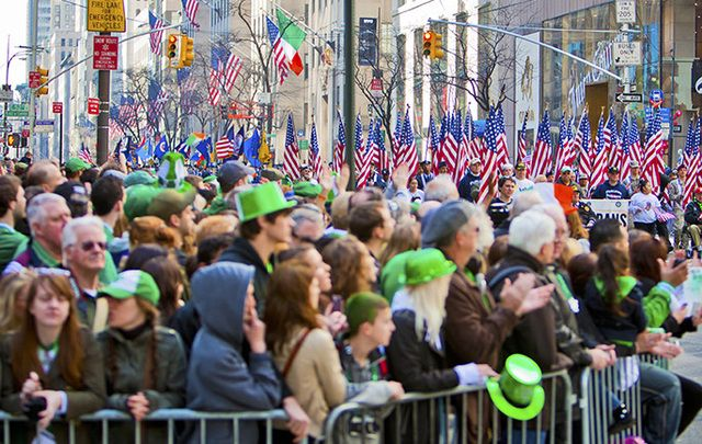 Crowds watching the New York St. Patrick's Day Parade.