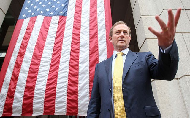 Enda Kenny photographed outside Wall Street during a trip to the US for St. Patrick's Day.