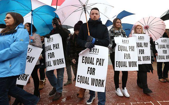 Teachers stage a strike on November 8 in Baldoyle, Co. Dublin.
