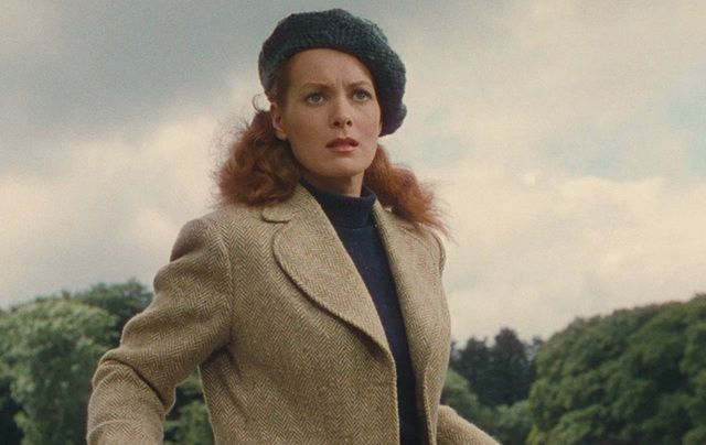 """Maureen O'Hara in """"The Quiet Man"""" wearing the famous green tweed coat, just one of the items up for auction this week."""