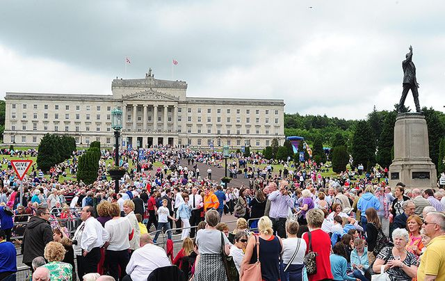 Over 20,000 memebers of the public celebrate Queen Elizabeth's jubilee at Stormont in 2008.