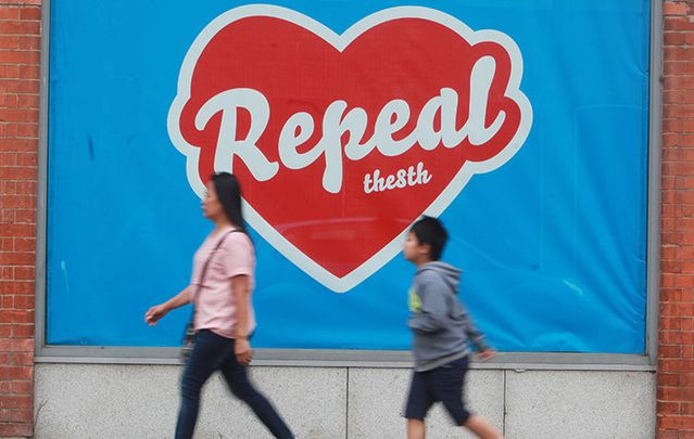 One of the many reproductions of Irish artist Maser's iconic Repeal the 8th mural.