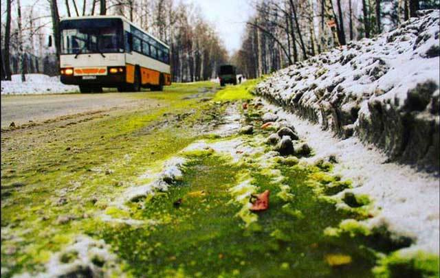 Green snow in Pervouralsk, Russia.
