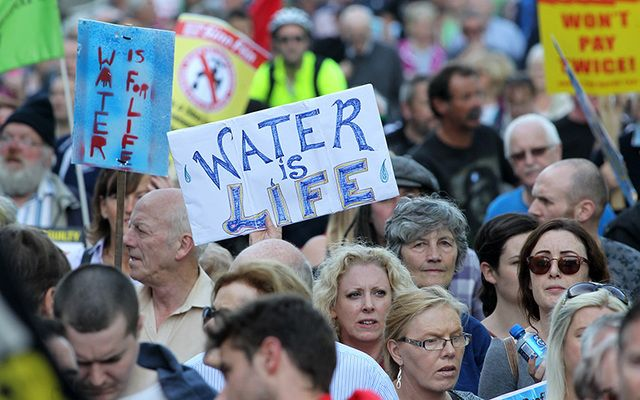 A protest against water charges took place in Dublin in September.