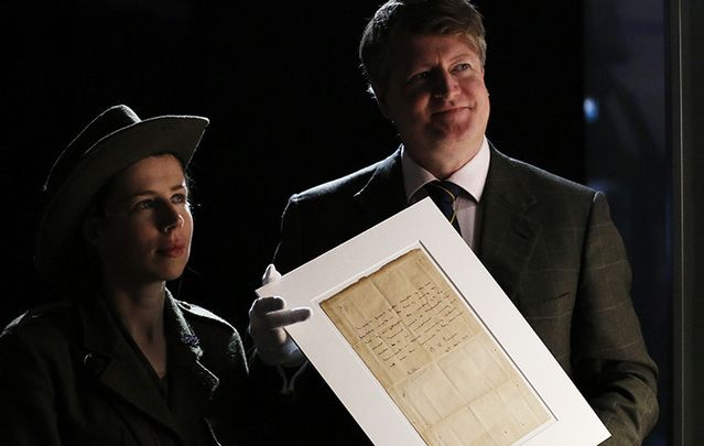 The Patrick Pearse letter on display in the GPO, Dublin, before going to auction last Wednesday.