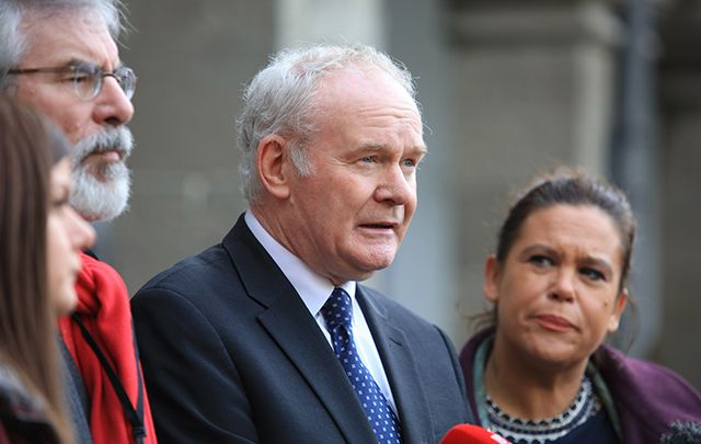 Sinn Fein leader Gerry Adams and NI Deputy First Minister Martin McGuinness speak to the media as they arrive with their delegation to the Brexit All-Ireland Civic Dialogue.
